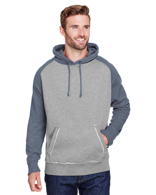 J America Adult Vintage Heather Pullover Hooded Sweatshirt SMOKE/ VIN NAVY