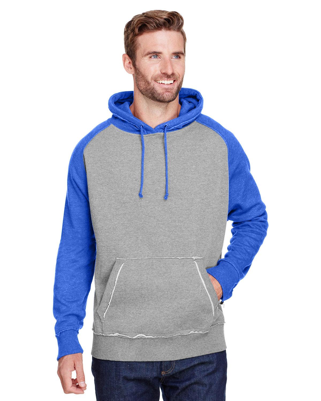J America Adult Vintage Heather Pullover Hooded Sweatshirt SMOKE/ VIN ROYAL