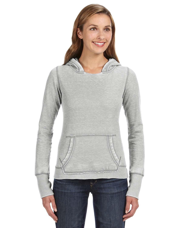 J America Ladies' Zen Pullover Fleece Hooded Sweatshirt CEMENT