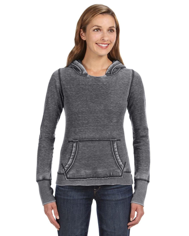 J America Ladies' Zen Pullover Fleece Hooded Sweatshirt DARK SMOKE