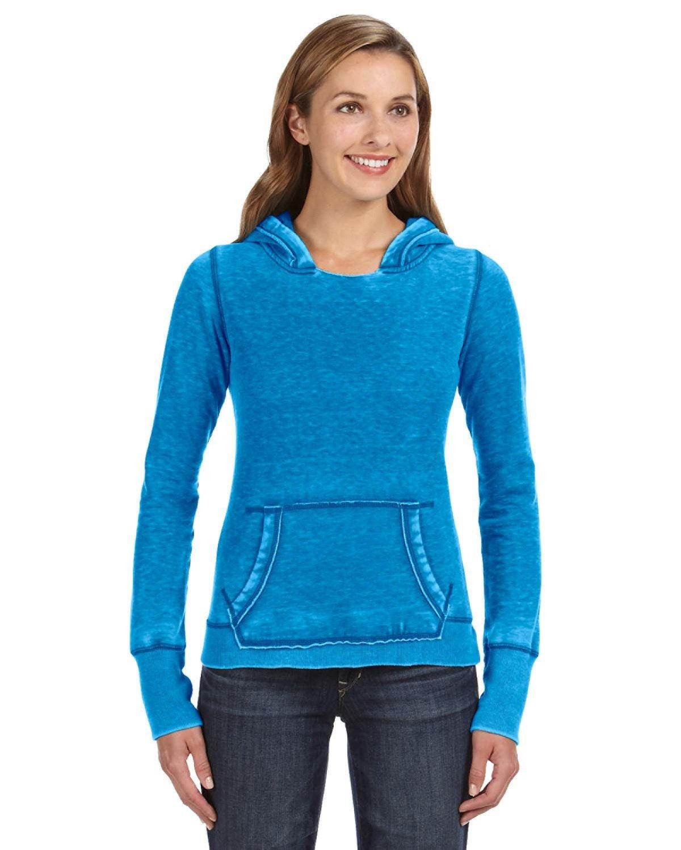 J America Ladies' Zen Pullover Fleece Hooded Sweatshirt OCEANBERRY