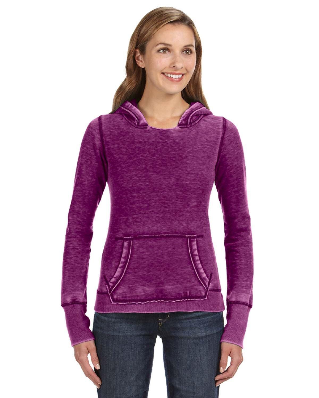 J America Ladies' Zen Pullover Fleece Hooded Sweatshirt VERY BERRY