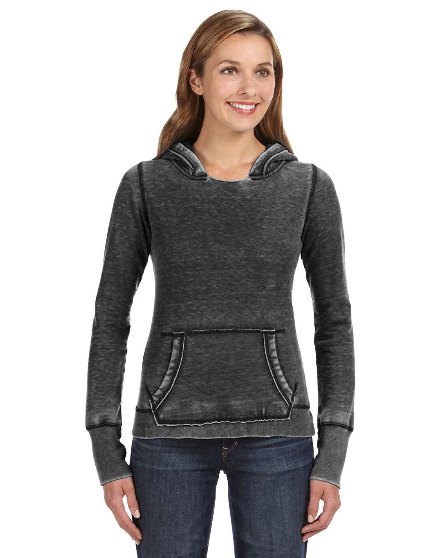 J America Ladies' Zen Pullover Fleece Hooded Sweatshirt TWISTED BLACK
