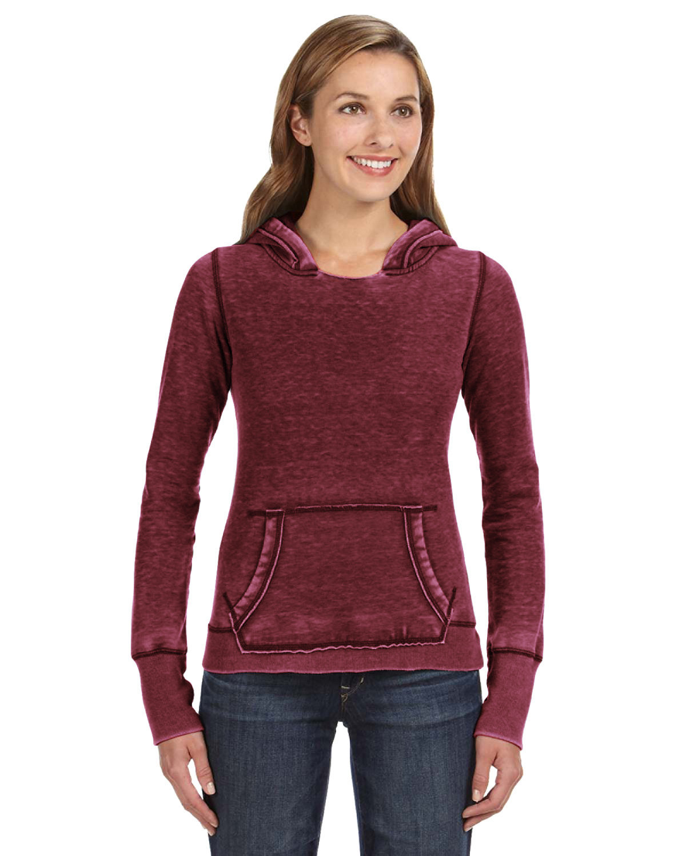 J America Ladies' Zen Pullover Fleece Hooded Sweatshirt TWISTED BORDEAUX