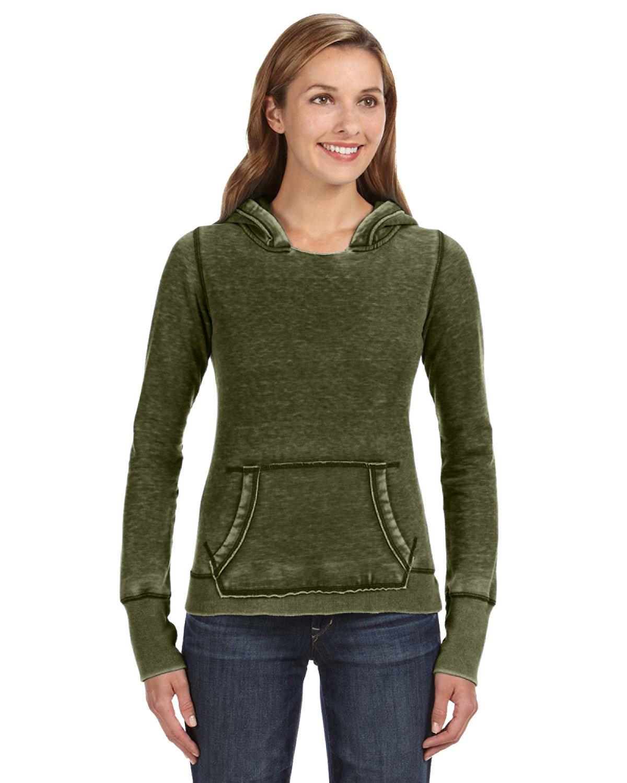 J America Ladies' Zen Pullover Fleece Hooded Sweatshirt TWISTED OLIVE