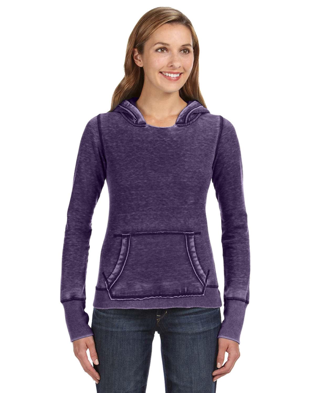 J America Ladies' Zen Pullover Fleece Hooded Sweatshirt TWISTED PLUM