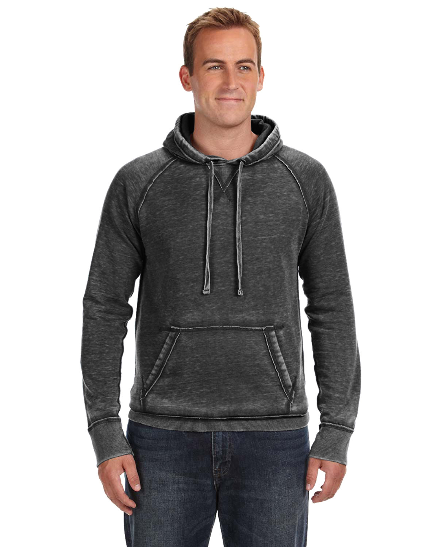 J America Adult Vintage Zen Fleece Pullover Hooded Sweatshirt TWISTED BLACK