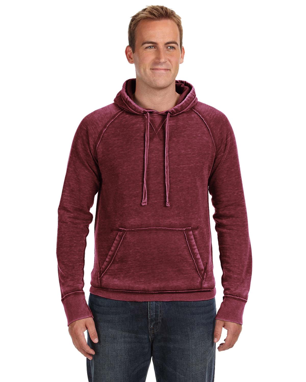J America Adult Vintage Zen Fleece Pullover Hooded Sweatshirt TWISTED BORDEAUX