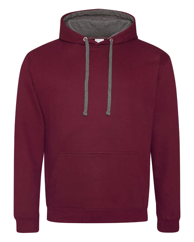 Just Hoods By AWDis Adult 80/20 Midweight Varsity Contrast Hooded Sweatshirt BURGUNDY/ CHRCOL