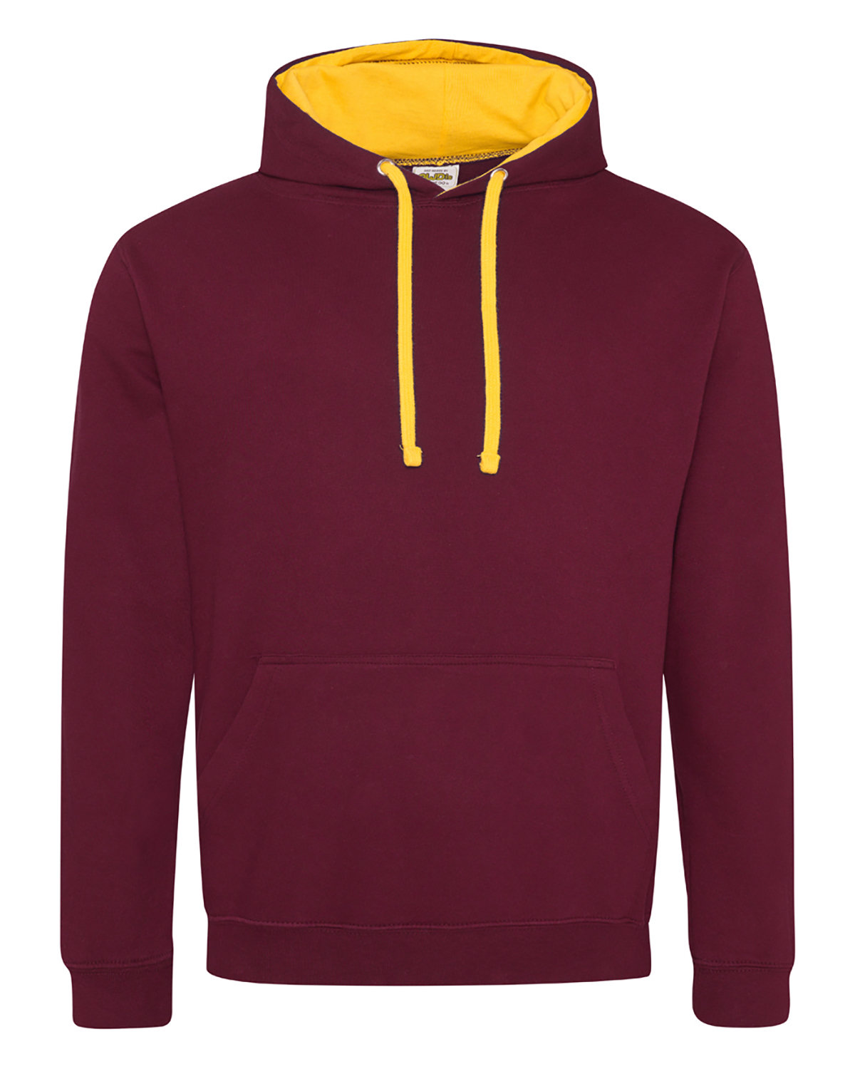 Just Hoods By AWDis Adult 80/20 Midweight Varsity Contrast Hooded Sweatshirt BURGUNDY/ GOLD