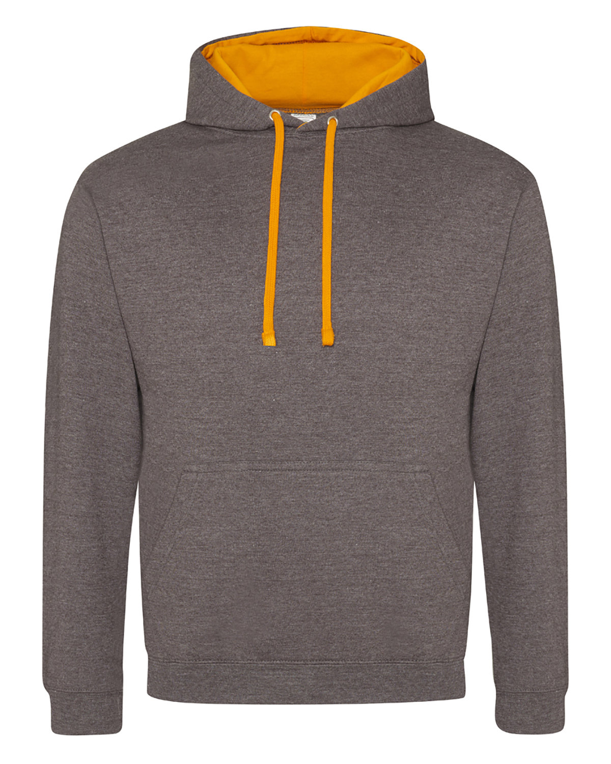 Just Hoods By AWDis Adult 80/20 Midweight Varsity Contrast Hooded Sweatshirt CHRCOL/ ORN CRSH