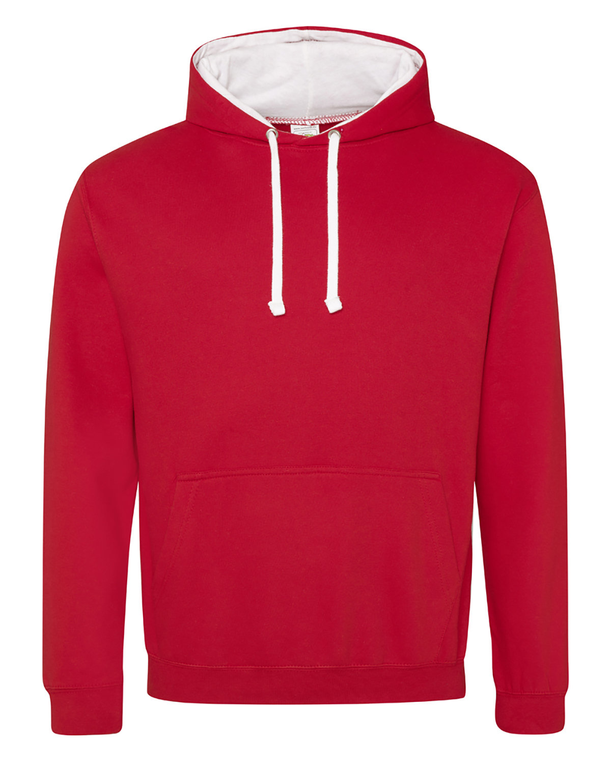 Just Hoods By AWDis Adult 80/20 Midweight Varsity Contrast Hooded Sweatshirt FIRE RD/ ARC WHT