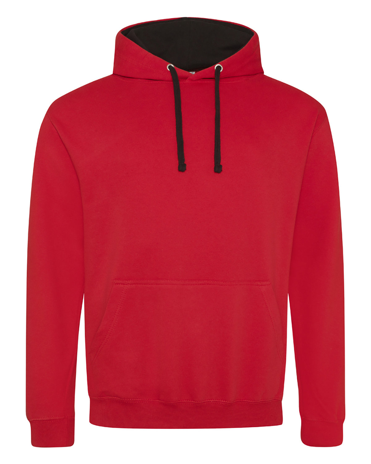 Just Hoods By AWDis Adult 80/20 Midweight Varsity Contrast Hooded Sweatshirt FIRE RD/ JET BLK