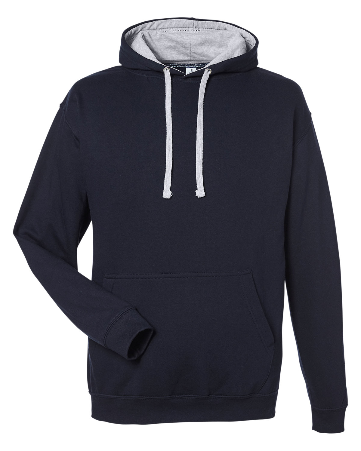 Just Hoods By AWDis Adult 80/20 Midweight Varsity Contrast Hooded Sweatshirt FRN NVY /HTH GRY