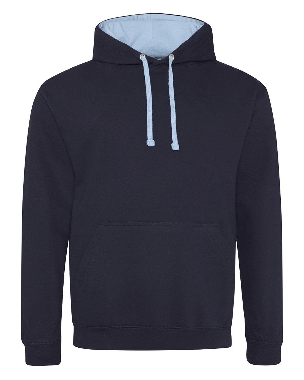 Just Hoods By AWDis Adult 80/20 Midweight Varsity Contrast Hooded Sweatshirt FRN NVY/ SKY BLU
