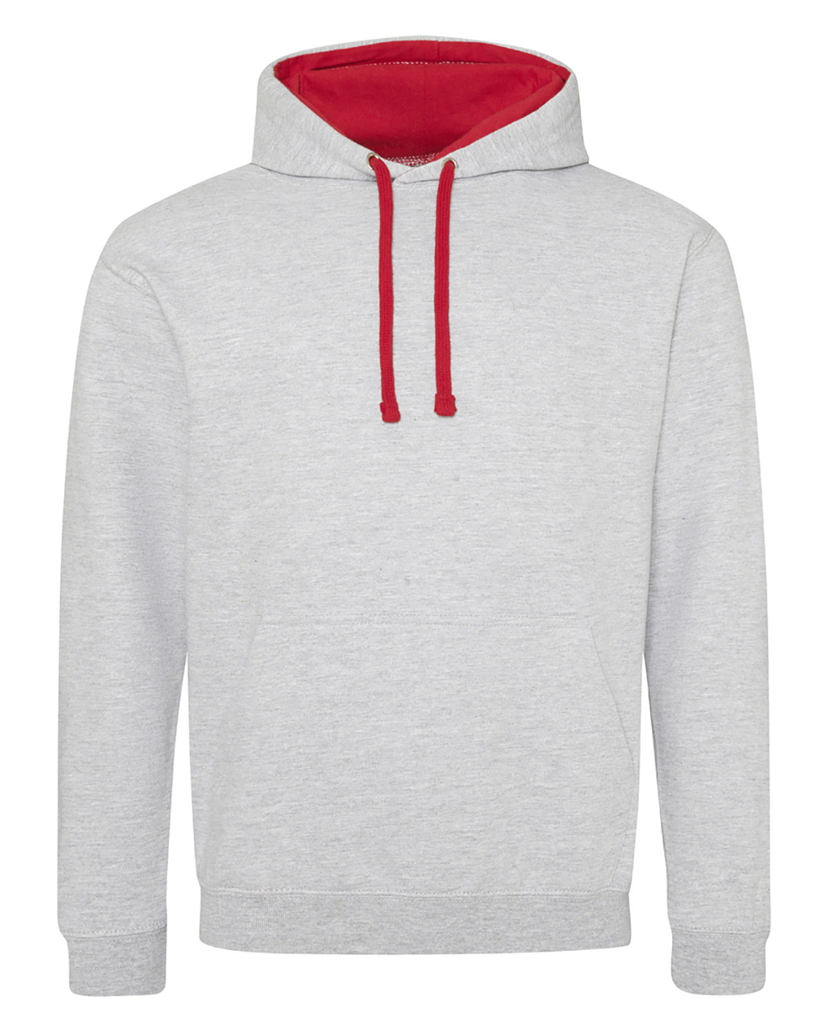 Just Hoods By AWDis Adult 80/20 Midweight Varsity Contrast Hooded Sweatshirt HTH GRY/ FIRE RD