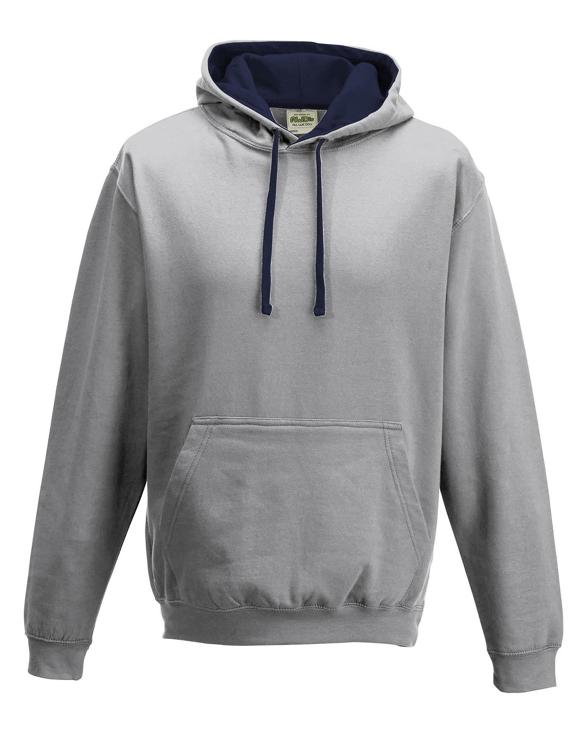 Just Hoods By AWDis Adult 80/20 Midweight Varsity Contrast Hooded Sweatshirt HTH GRY/ FRN NVY