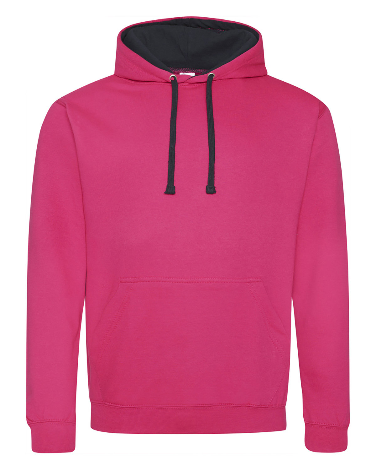 Just Hoods By AWDis Adult 80/20 Midweight Varsity Contrast Hooded Sweatshirt HOT PNK/ FRN NVY