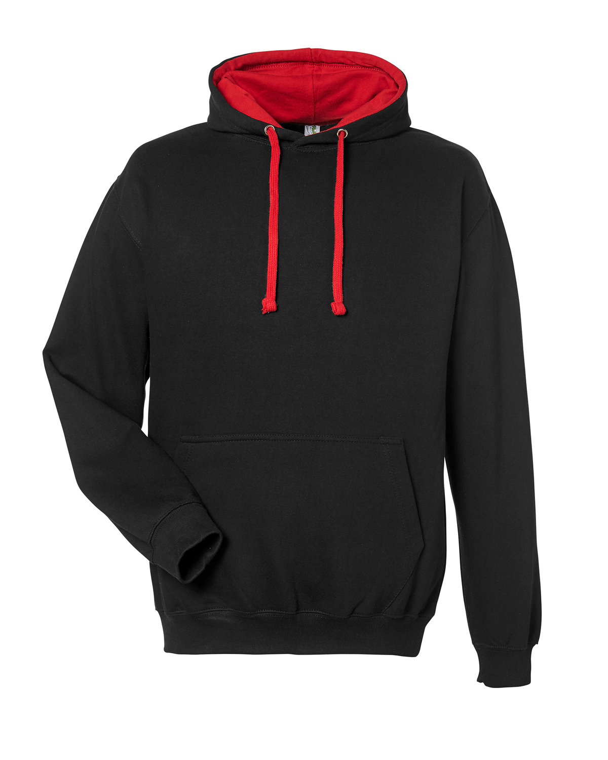 Just Hoods By AWDis Adult 80/20 Midweight Varsity Contrast Hooded Sweatshirt JET BLK/ FIRE RD