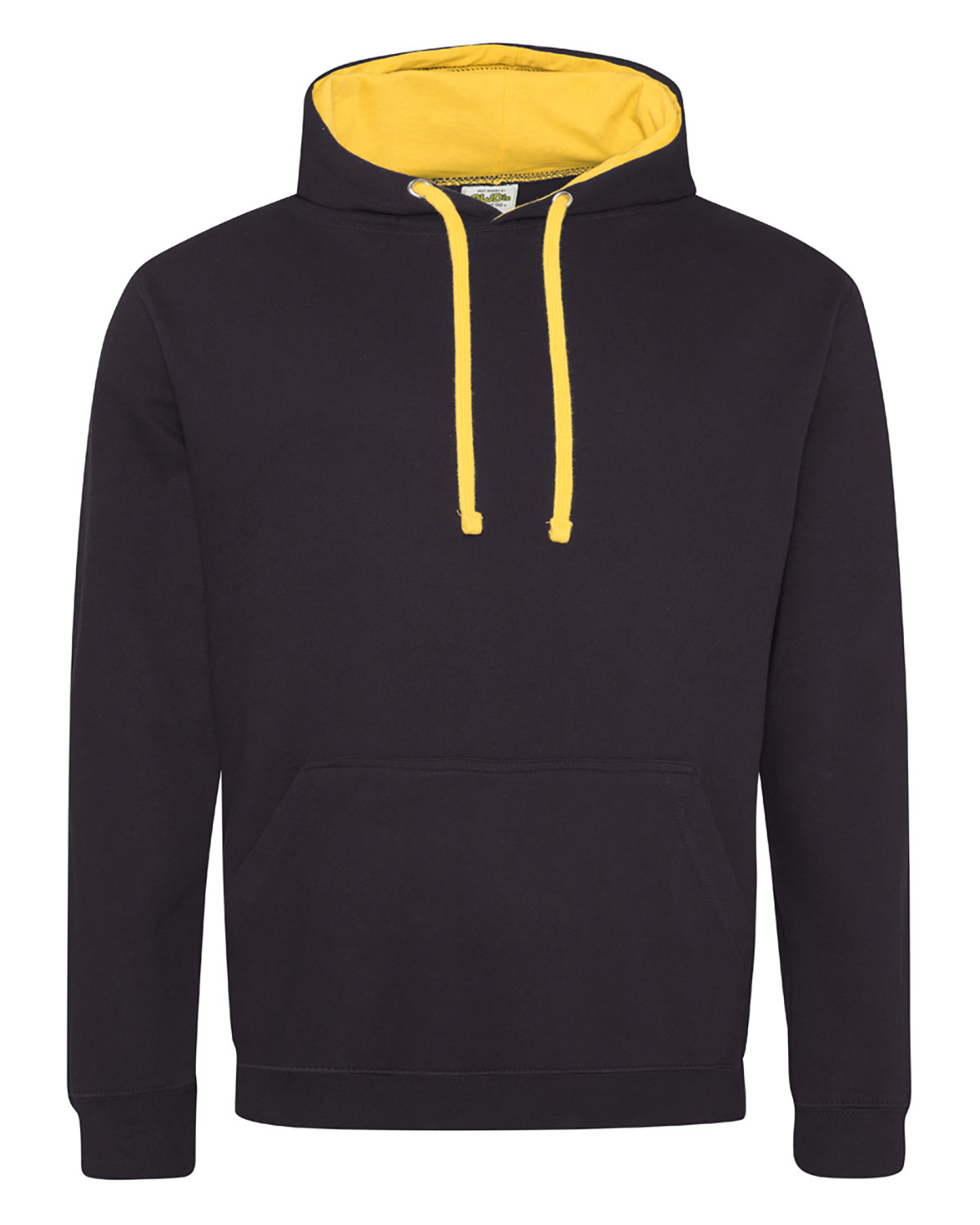 Just Hoods By AWDis Adult 80/20 Midweight Varsity Contrast Hooded Sweatshirt JET BLACK/ GOLD