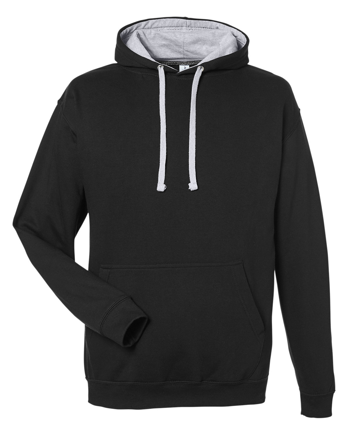 Just Hoods By AWDis Adult 80/20 Midweight Varsity Contrast Hooded Sweatshirt JET BLK/ HTH GRY