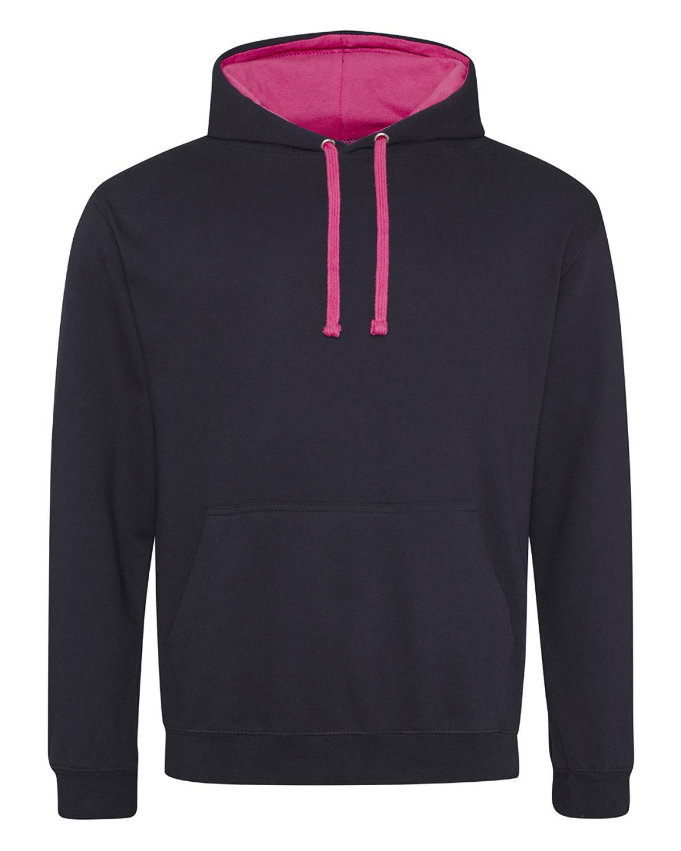 Just Hoods By AWDis Adult 80/20 Midweight Varsity Contrast Hooded Sweatshirt JET BLK/ HOT PNK