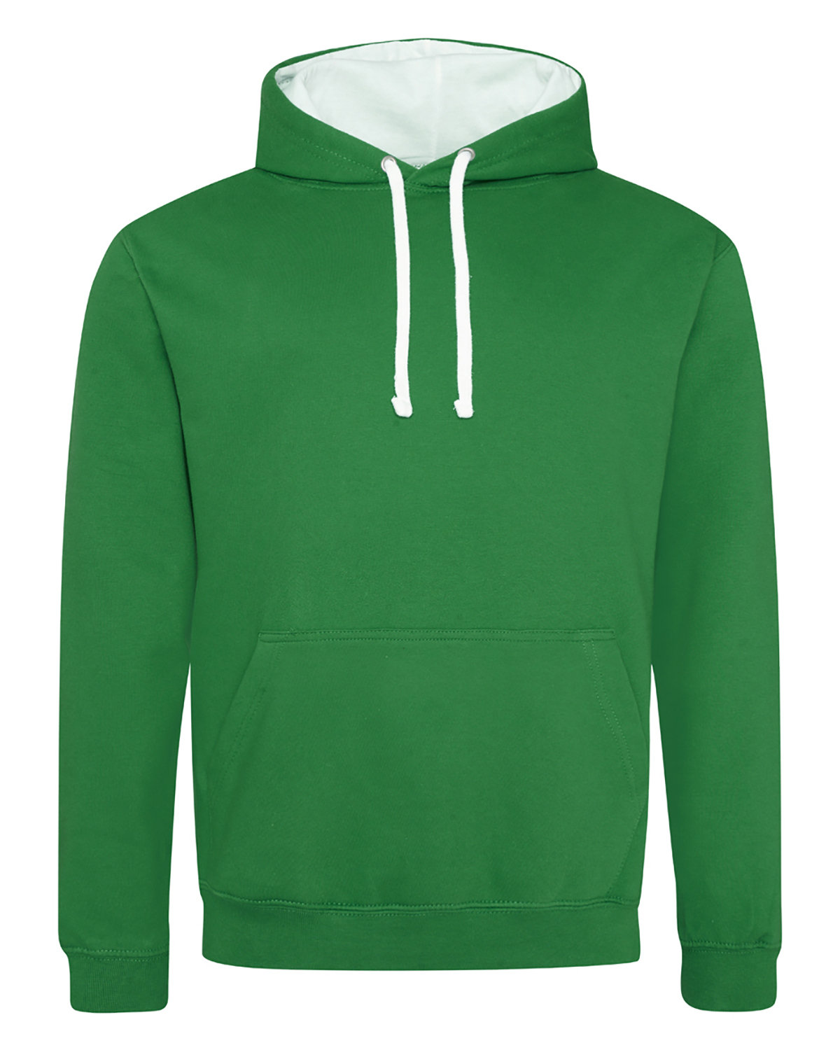 Just Hoods By AWDis Adult 80/20 Midweight Varsity Contrast Hooded Sweatshirt KLY GRN/ ARC WHT
