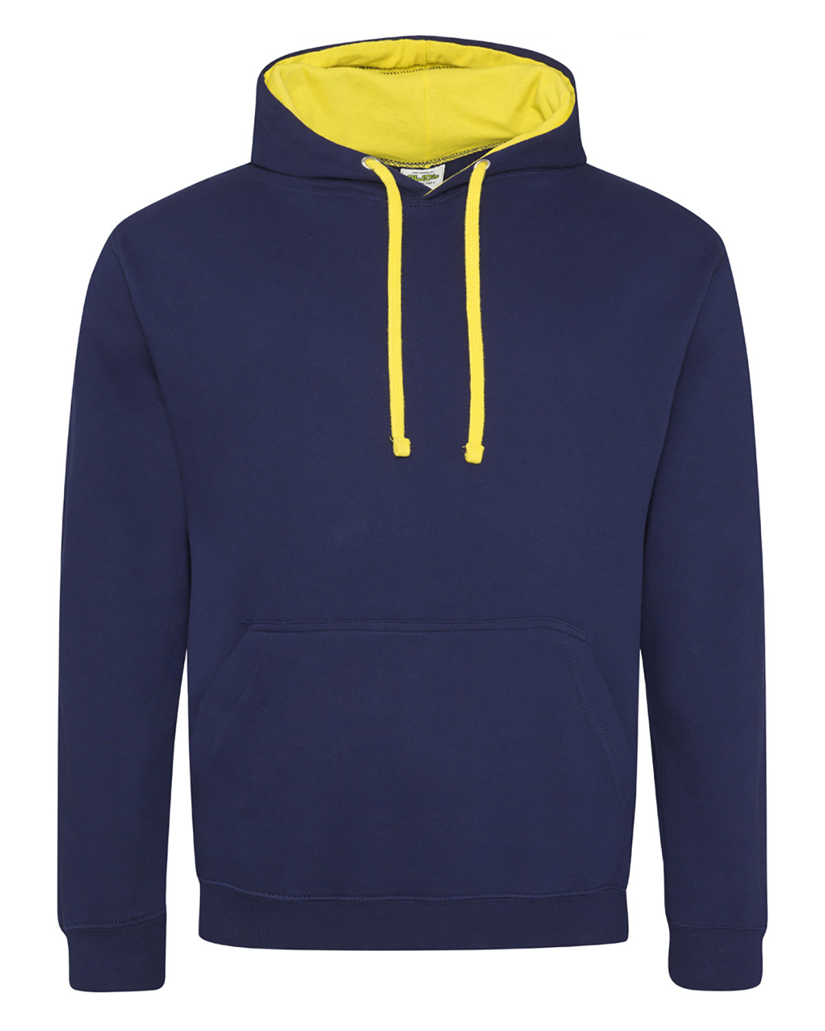 Just Hoods By AWDis Adult 80/20 Midweight Varsity Contrast Hooded Sweatshirt OXF NVY/ SUN YLW