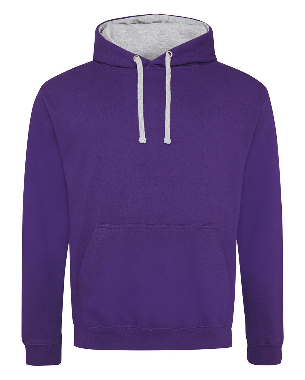 Just Hoods By AWDis Adult 80/20 Midweight Varsity Contrast Hooded Sweatshirt PURPLE/ HTHR GRY