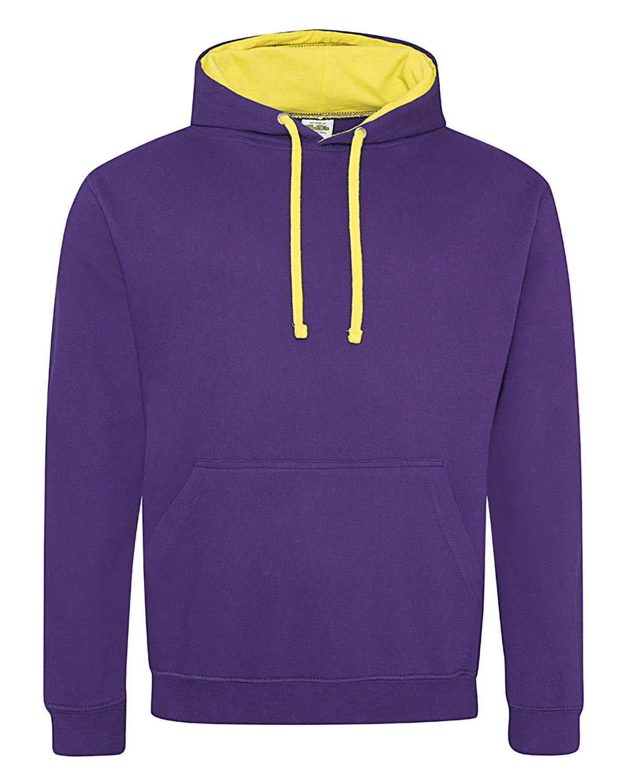 Just Hoods By AWDis Adult 80/20 Midweight Varsity Contrast Hooded Sweatshirt PURPLE/ SUN YLLW