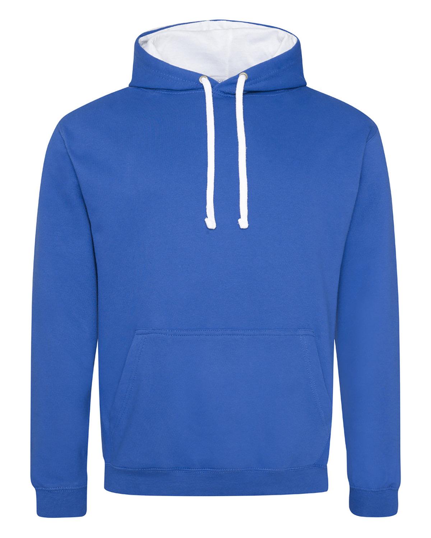 Just Hoods By AWDis Adult 80/20 Midweight Varsity Contrast Hooded Sweatshirt ROYL BL/ ARC WHT