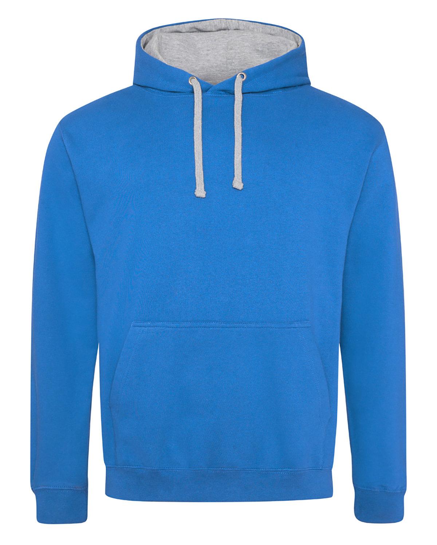 Just Hoods By AWDis Adult 80/20 Midweight Varsity Contrast Hooded Sweatshirt SAPP BLU/ HT GRY