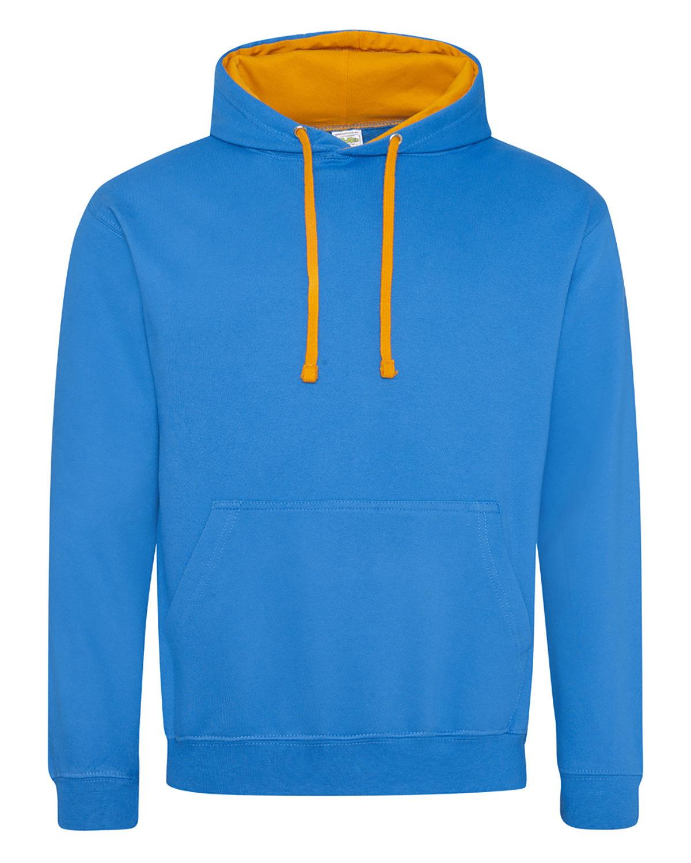 Just Hoods By AWDis Adult 80/20 Midweight Varsity Contrast Hooded Sweatshirt SAPP BLU/ OR CRS
