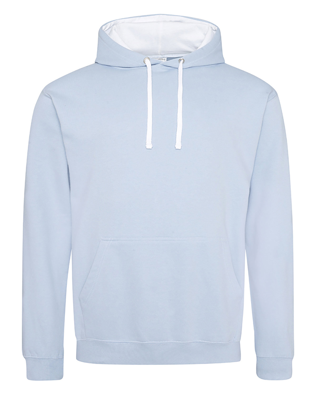 Just Hoods By AWDis Adult 80/20 Midweight Varsity Contrast Hooded Sweatshirt SKY BLU/ ARC WHT
