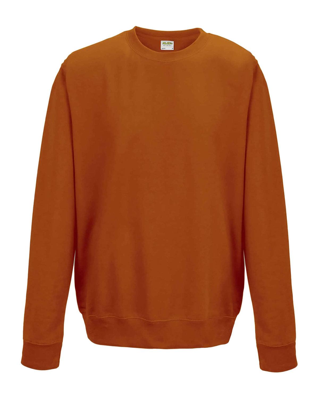 Just Hoods By AWDis Adult 80/20 Midweight College Crewneck Sweatshirt BURNT ORANGE