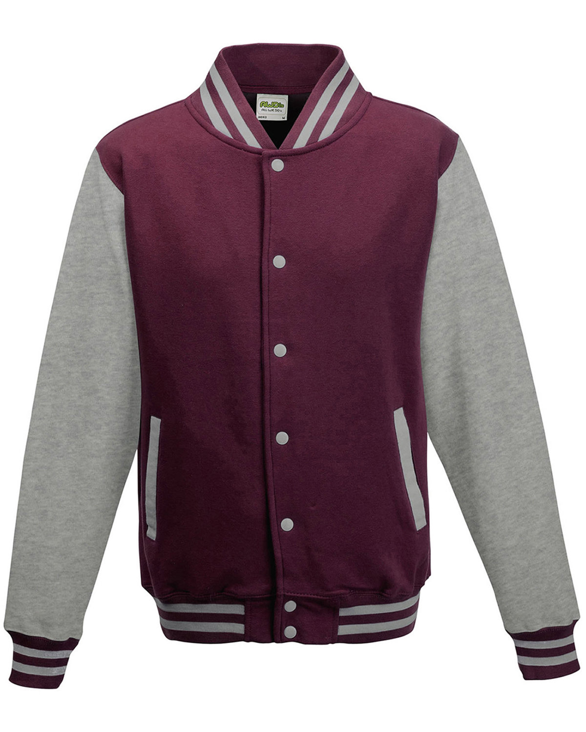 Just Hoods By AWDis Men's 80/20 Heavyweight Letterman Jacket BURGNDY/ HTH GRY