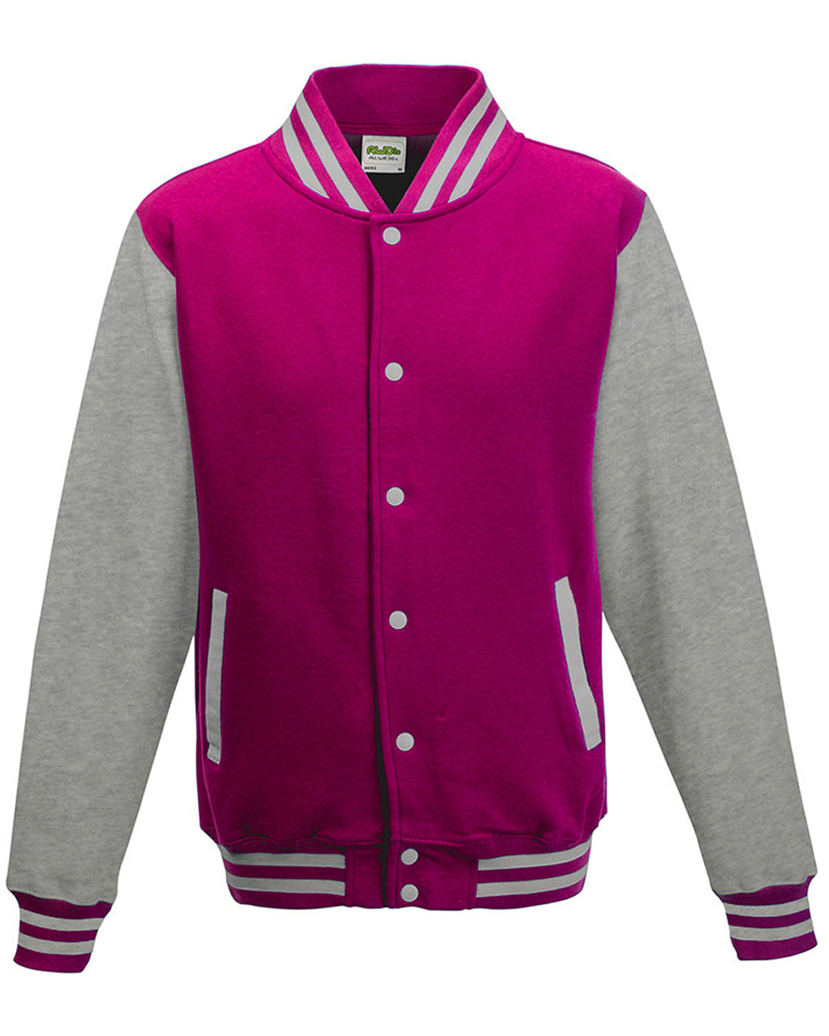 Just Hoods By AWDis Men's 80/20 Heavyweight Letterman Jacket HOT PNK/ HTH GRY