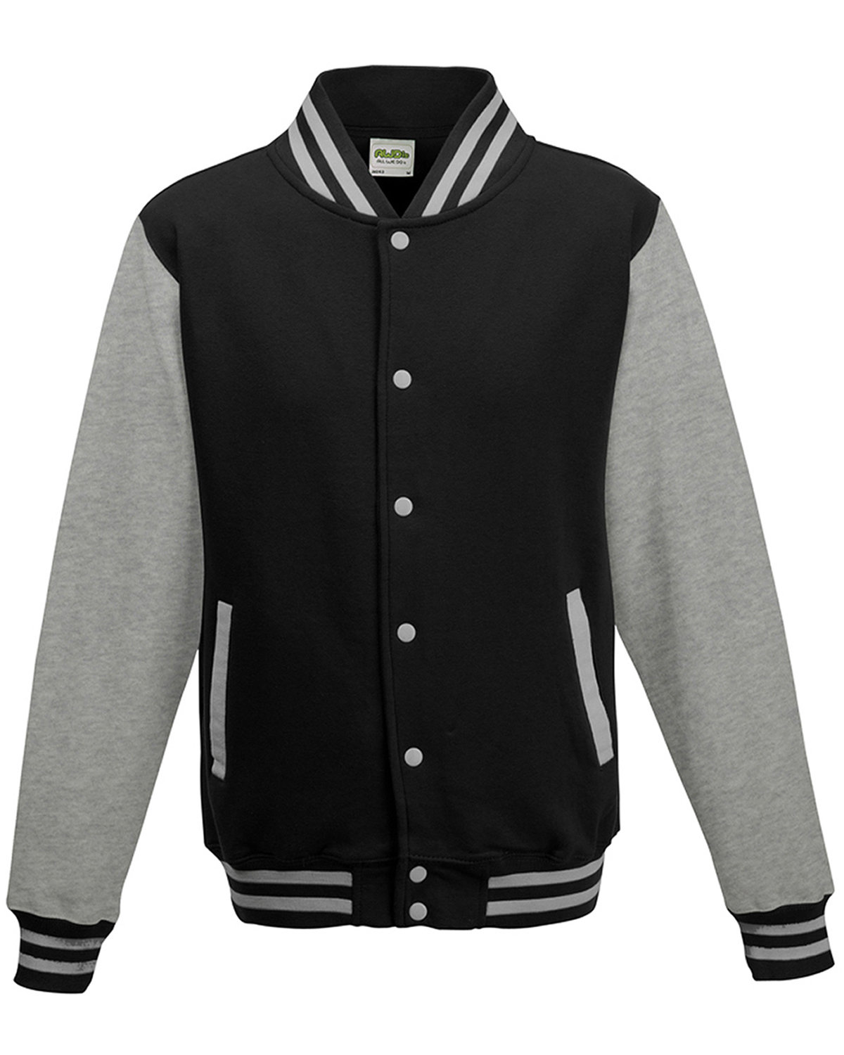 Just Hoods By AWDis Men's 80/20 Heavyweight Letterman Jacket JET BLK/ HTH GRY
