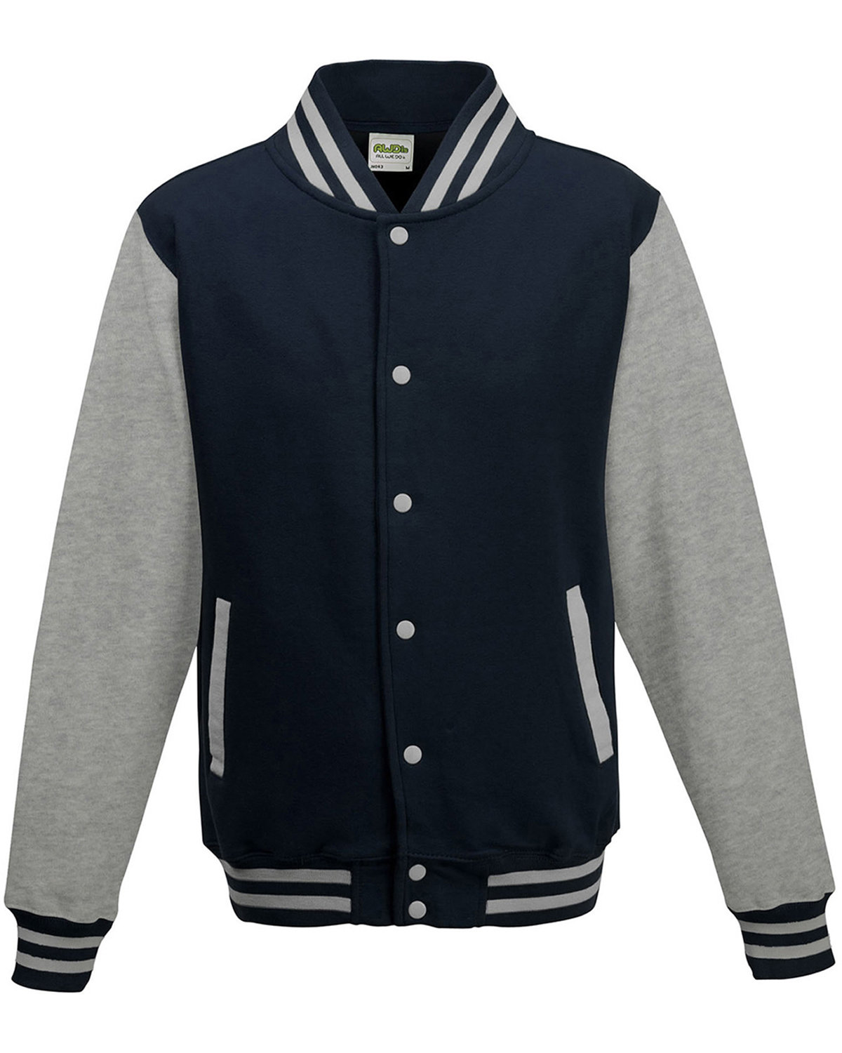 Just Hoods By AWDis Men's 80/20 Heavyweight Letterman Jacket OXF NVY/ HTH GRY