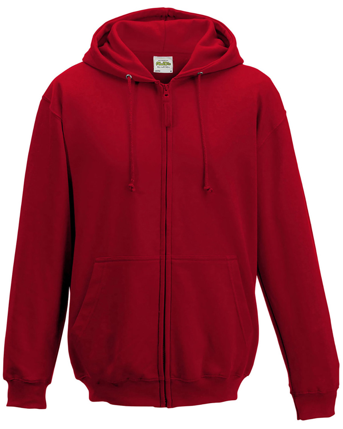 Just Hoods By AWDis Men's 80/20 Midweight College Full-Zip Hooded Sweatshirt FIRE RED
