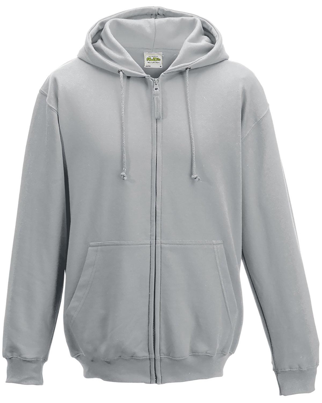 Just Hoods By AWDis Men's 80/20 Midweight College Full-Zip Hooded Sweatshirt HEATHER GREY