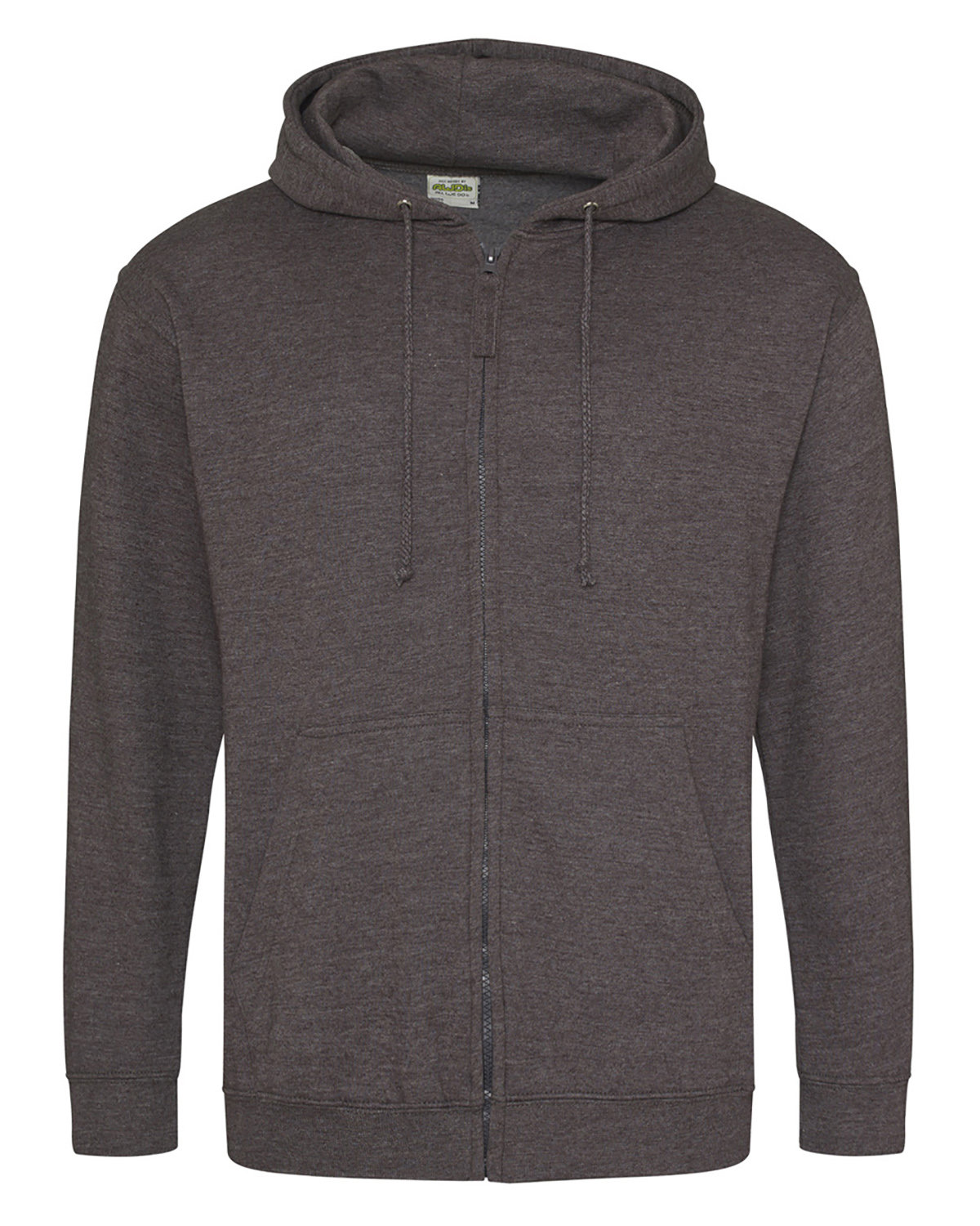 Just Hoods By AWDis Men's 80/20 Midweight College Full-Zip Hooded Sweatshirt CHARCOAL
