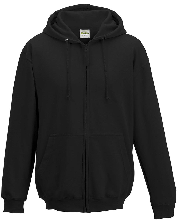 Just Hoods By AWDis Men's 80/20 Midweight College Full-Zip Hooded Sweatshirt JET BLACK