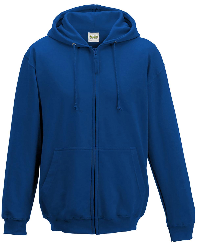 Just Hoods By AWDis Men's 80/20 Midweight College Full-Zip Hooded Sweatshirt ROYAL BLUE