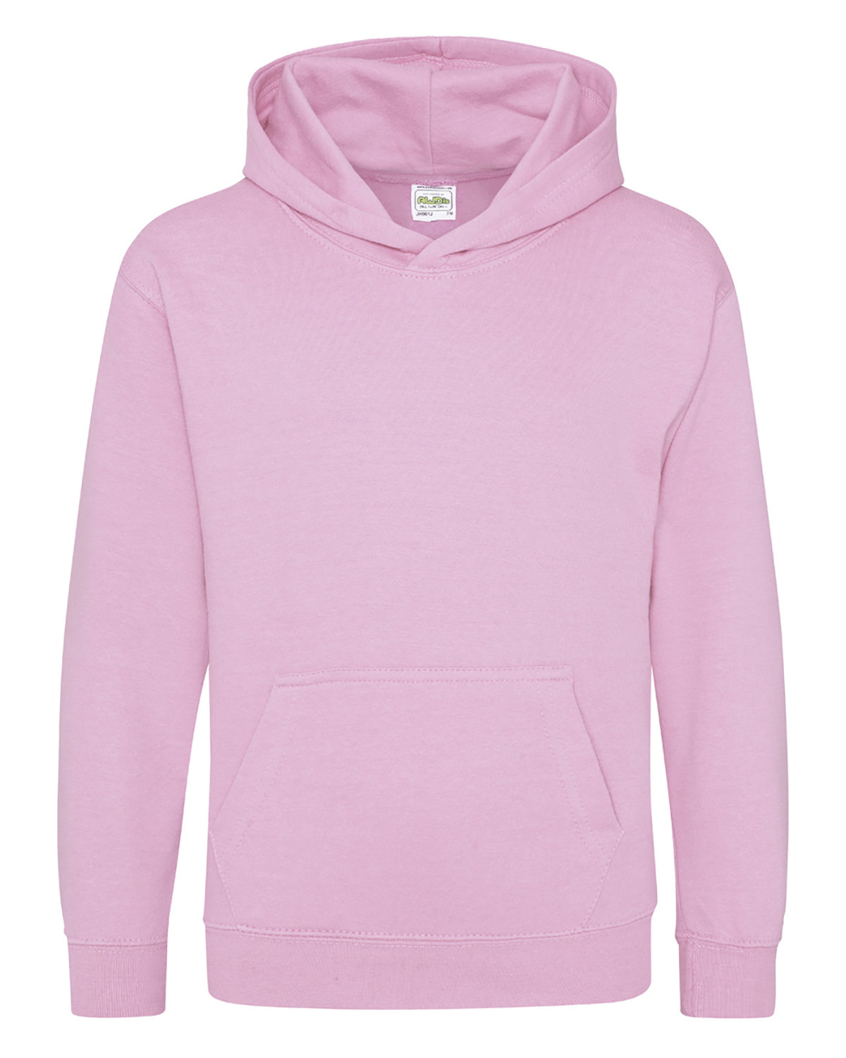 Just Hoods By AWDis Youth 80/20 Midweight College Hooded Sweatshirt BABY PINK