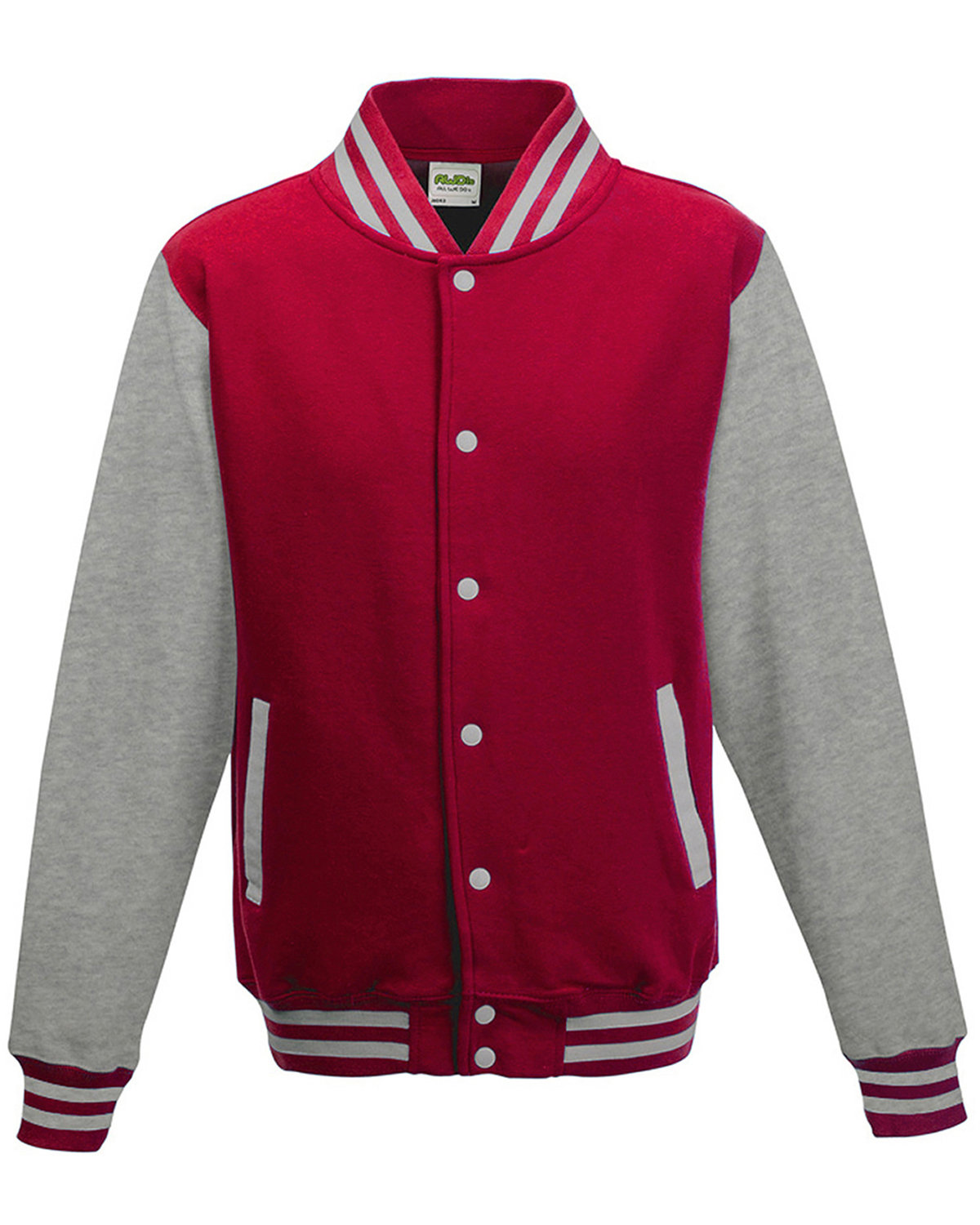Just Hoods By AWDis Youth 80/20 Heavyweight Letterman Jacket FIRE RD/ HTH GRY