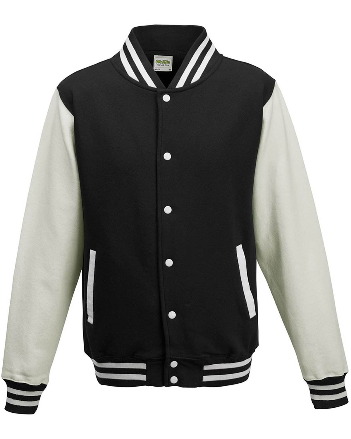 Just Hoods By AWDis Youth 80/20 Heavyweight Letterman Jacket JET BLACK/ WHITE