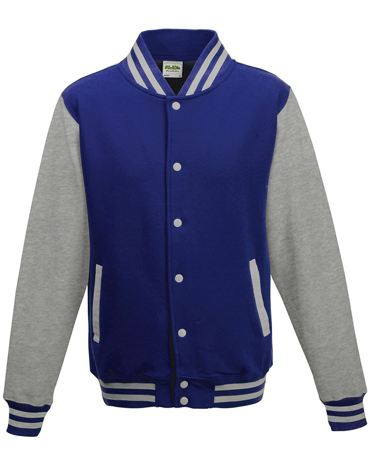 Just Hoods By AWDis Youth 80/20 Heavyweight Letterman Jacket ROYL BL/ HTH GRY