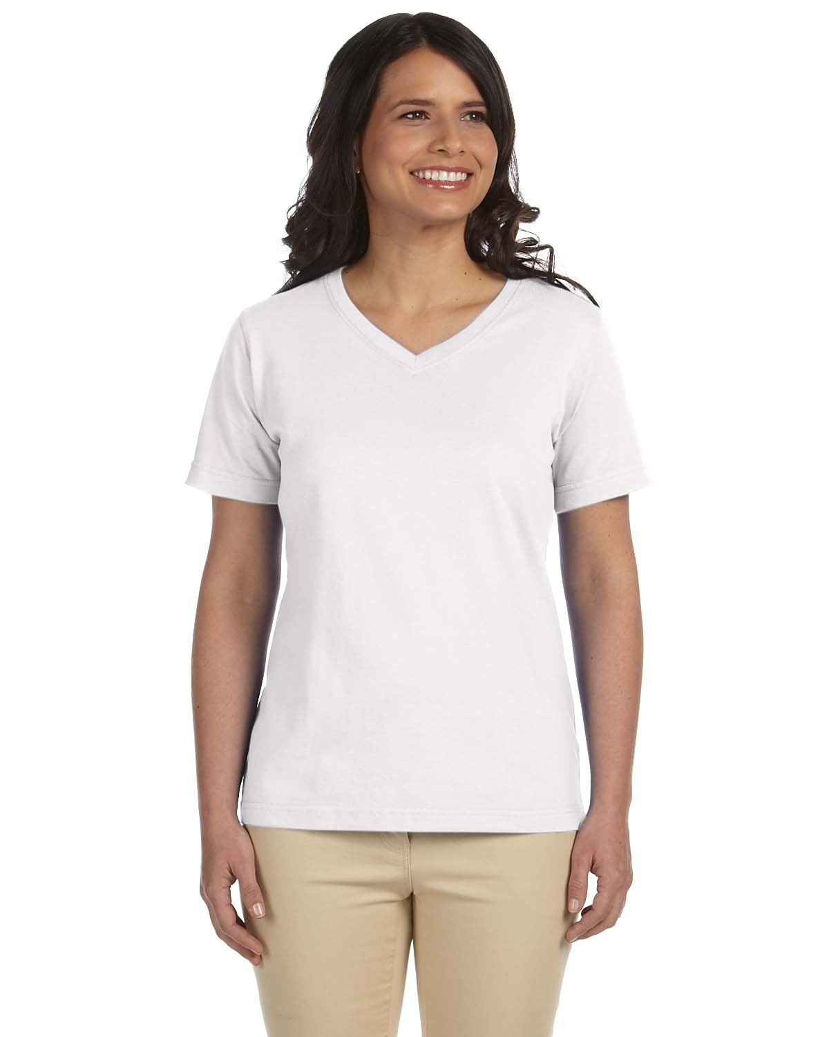 LAT Ladies' Premium Jersey V-Neck T-Shirt WHITE