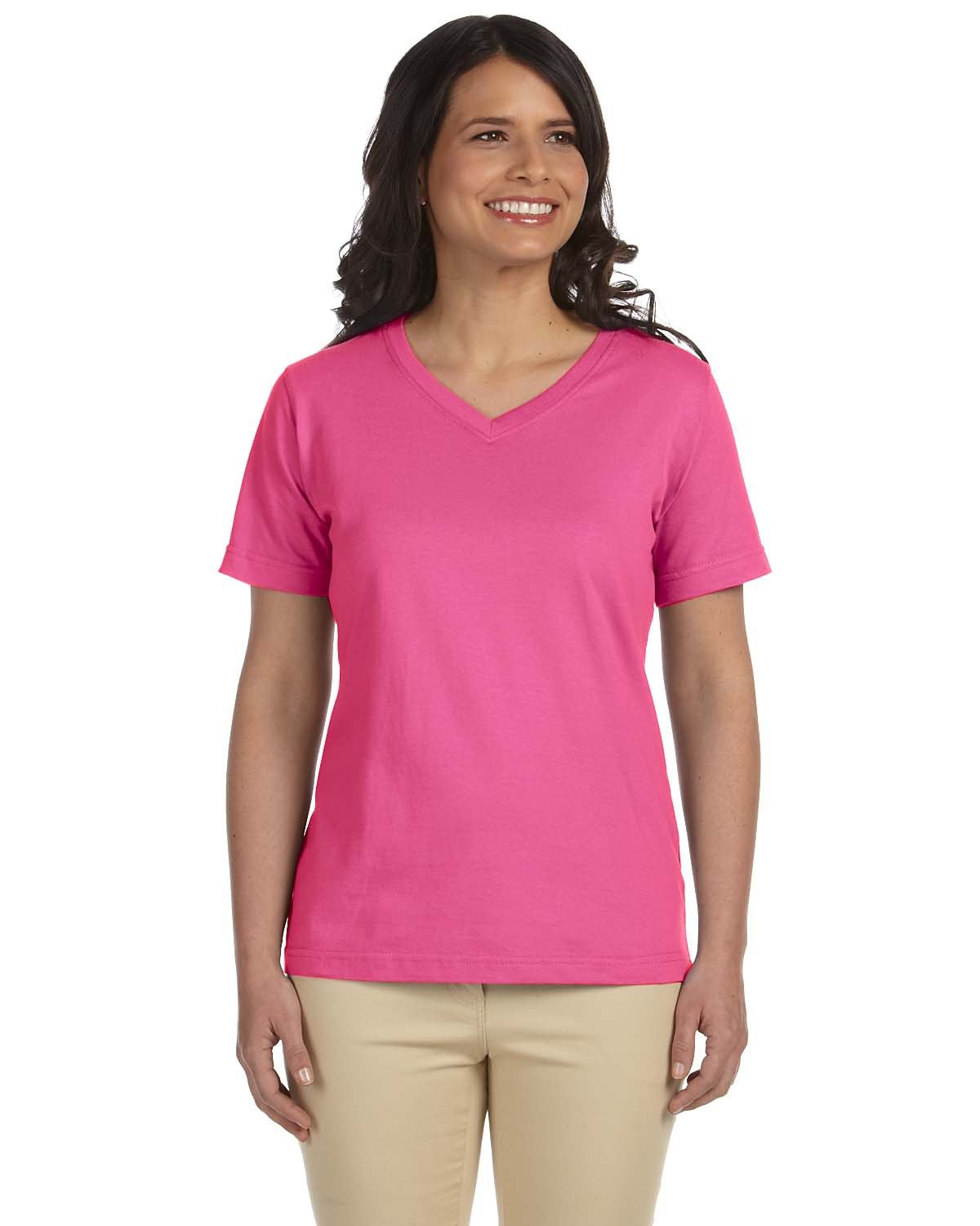 LAT Ladies' Premium Jersey V-Neck T-Shirt RASPBERRY